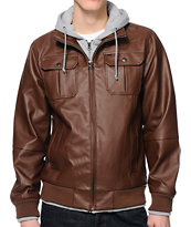 Obey Rapture Brown Faux Leather Hooded Jacket
