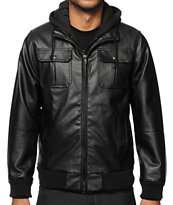 Obey Rapture Faux Leather Hooded Jacket