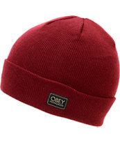 Obey Rebel Burgundy Fold Beanie