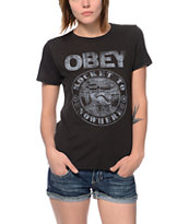 Obey Rocket To Nowhere Black Back Alley Tee Shirt
