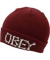 Obey Ruger  Burgundy Fold Beanie