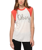 Obey Scholastic Script Cut-Off Raglan T-Shirt