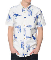 Obey Seagull Port White Button Up Shirt