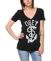 Obey Serpent & Anchor Black V-Neck Tee Shirt