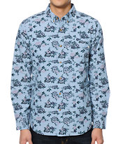Obey Shelly Blue Long Sleeve Button Up Shirt