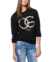 Obey Smokey Rose Black Crew Neck Sweatshirt