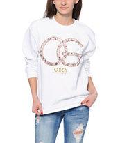 Obey Smokey Rose White Throwback Crew Neck Sweatshirt