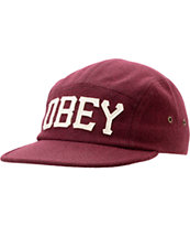 Obey Stadium Burgundy 5 Panel Hat