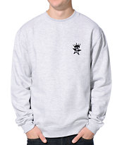 Obey Star Crown Heather Grey Crew Neck Sweatshirt
