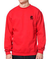 Obey Star Crown Red Crew Neck Sweatshirt