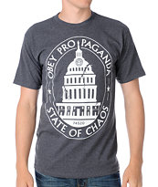 Obey State Of Chaos Heather Grey Tee Shirt