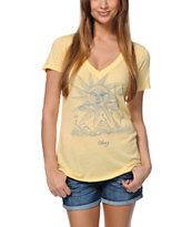 Obey Storm On The Horizon Yellow V-Neck Tee Shirt