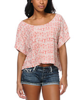 Obey Summertime Ethnic Print Crop Tee Shirt