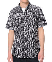 Obey Temple Navy Print Button Up Shirt