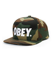 Obey The City Camo & White Snapback Hat