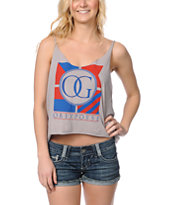 Obey The Posse Flag Grey Broken Crop Tank Top