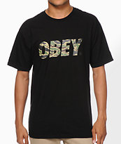 Obey Tiger Camo Font Black Tee Shirt