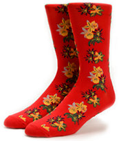 Obey Tourist Red Floral Crew Socks