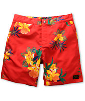 Obey Tourist Red Floral Hybrid Board Shorts