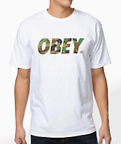 Obey Traditional Font Camo White Tee Shirt