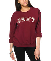 Obey University Burgundy Crew Neck Sweatshirt