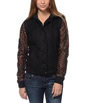 Obey Varsity Black & Leopard Print Varsity Jacket