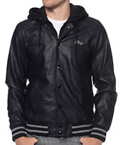 Obey Varsity Black Hooded Jacket