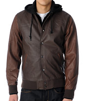 Obey Varsity Brown Faux Leather Hooded Bomber Jacket