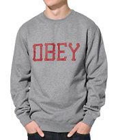 Obey Varsity Charcoal Crew Neck Sweatshirt