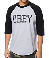 Obey Varsity Grey & Black Baseball Tee Shirt