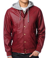 Obey Varsity Legend Burgundy Hooded Jacket