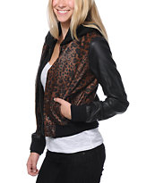 Obey Varsity Love Leopard & Black Hooded Faux Leather Jacket