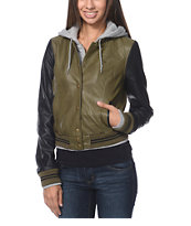 Obey Varsity Lover Army Green & Black Faux Leather Jacket