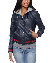 Obey Varsity Lover Navy Faux Leather Jacket