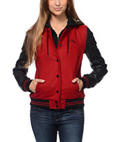 Obey Varsity Red & Black Varsity Jacket