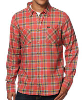 Obey Ventura Red Plaid Long Sleeve Flannel Shirt