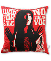 Obey War For Sale Red, Black, & Cream Throw Pillow