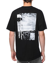 Obey Water Tower Icon Black Pocket Tee Shirt