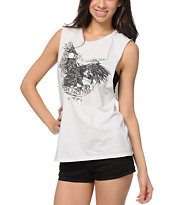 Obey Where Eagles Moto Cut-Off Tank Top