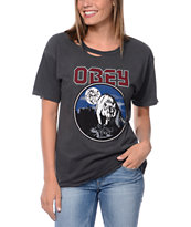 Obey Wolfen Destroyed Black Tee Shirt