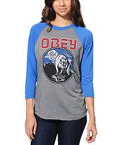 Obey Wolfen Grey & Blue Vintage Baseball T-Shirt