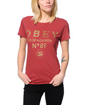 Obey Women's 89 Burgundy Tee Shirt