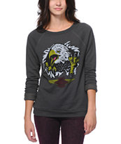 Obey Women's Aguila Echo Mountain Graphite Crew Neck Sweatshirt