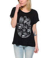 Obey Women's All Seeing Palm Black Modern Dolman Tee Shirt