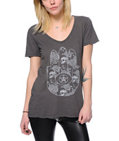 Obey Women's All Seeing Palm Charcoal V-Neck Tee Shirt