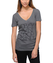 Obey Women's Avant Propaganda Grey V-Neck Tee Shirt
