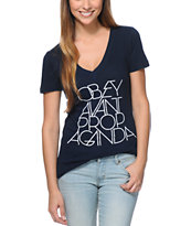 Obey Women's Avant Propaganda Navy V-Neck Tee Shirt