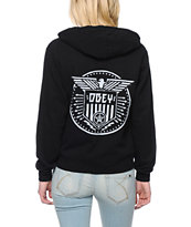 Obey Women's Beat On the Brat Black Zip Up Hoodie