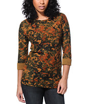 Obey Women's Blotch Camo Echo Mountain Crew Neck Sweatshirt