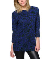 Obey Women's Blue Leopard Print Echo Mountain Crew Neck Sweatshirt